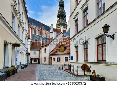 View on the old town of Riga, Latvia. In 2014, Riga is the European capital of culture. - stock photo