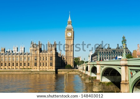 View on the Palace of Westminster from the River Thames, London, United Kingdom - stock photo
