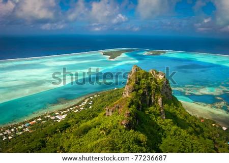 View on the peak mountain, Maupiti, French Polynesia, Society Islands - stock photo