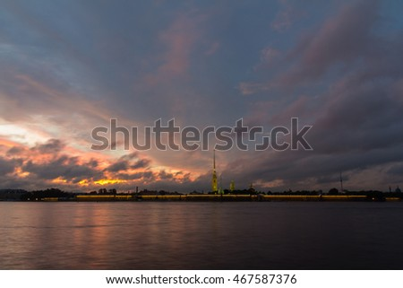 View on the Petropavlovsk fortress in St. Petersburg at sunset, Russia