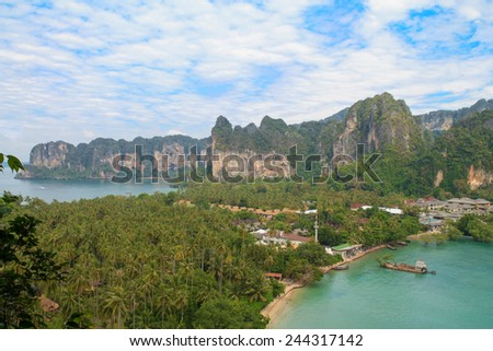 View on the Railay peninsula in Krabi, Thailand