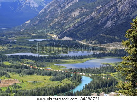View on the railway in Bow river valley in Banff National Park (Alberta, Canada)