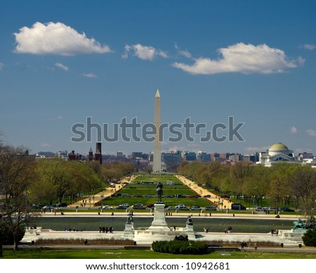 View on the Reflection Pool, Washington Mall, Washington Monument, Lincoln Memorial, Smithsonian Castle seen from Capitol Hill