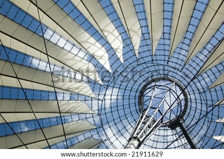 View on the roof above the plaza in Sony Center in Berlin, Germany - stock photo
