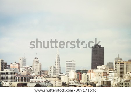 View on the San Francisco skyline from Alamo Square, California - stock photo