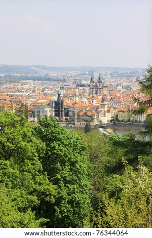 View on the spring Prague, historical city of Czech Republic