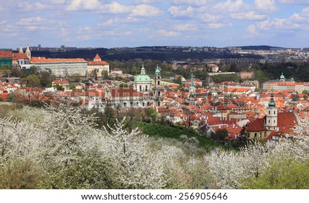 View on the spring Prague St. Nicholas' Cathedral with the green Nature and flowering Trees, Czech Republic - stock photo