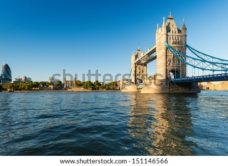 View on the Tower Bridge from the River Thames, London, United Kingdom.