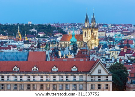 View on the towers in Prague,Czech republic - stock photo