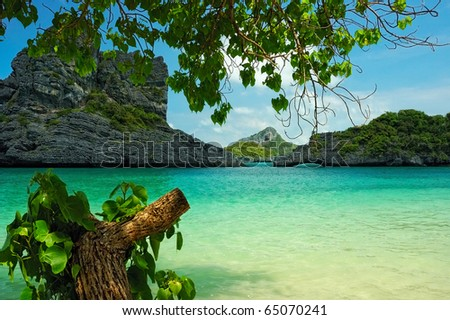 View on the tropical lagoon from a shore, Thailand - stock photo
