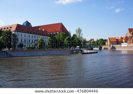 View on the Tumski island in Wroclaw, Poland