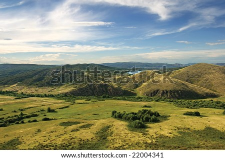 view on the valley from the mountain - stock photo