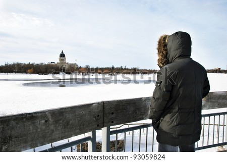 View on The  Wascana lake and The Legislative Assembly of Saskatchewan in Regina city from the outlook - stock photo