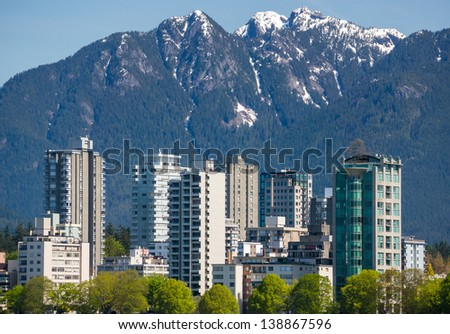 View on The West End of Vancouver across English Bay. - stock photo
