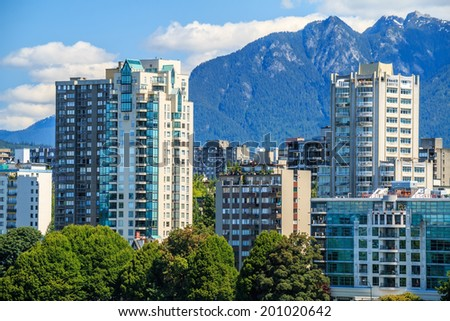 View on The West End of Vancouver across English Bay - stock photo