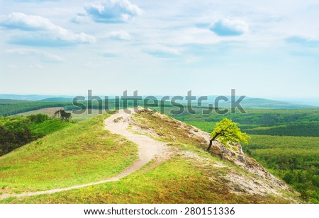 View on top of the mountain. - stock photo