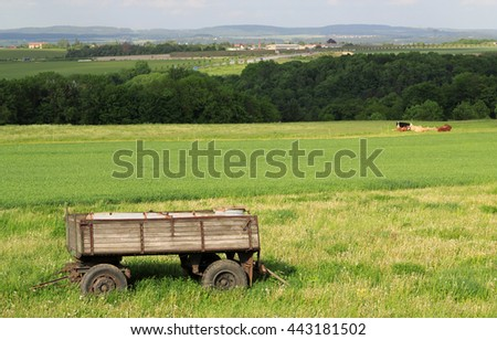 view on trailer in a green landscape by daylight