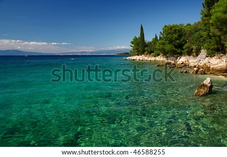 View on turquoise sea and rocky coast