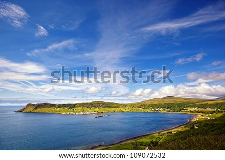 view on Uig harbour and village, Isle of Skye, Trotternish peninsula, Scotland - stock photo