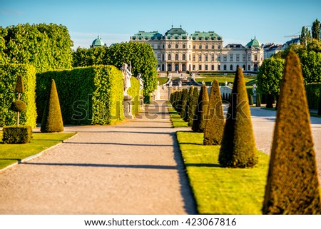 View on Upper Belvedere palace with park alley in Belvedere historic building complex in Vienna. - stock photo