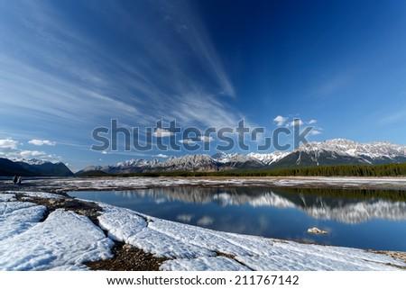 View on Upper Kananaskis Lake, Peter Lougheed Provincial Park - Kananaskis Country, Kananaskis, AB T0L, Canada - stock photo
