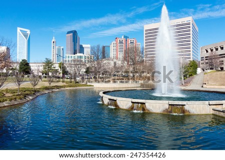 View on uptown Charlotte, NC from Marshall Park - stock photo