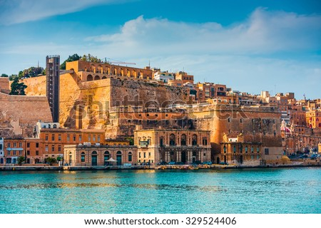view on Valletta from the harbour in Malta - stock photo
