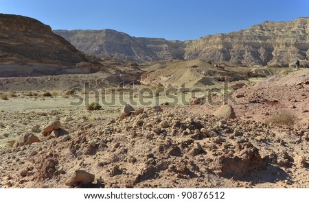 View on valley and dry riverbed in Timna geological park, 25 km from Eilat, Israel