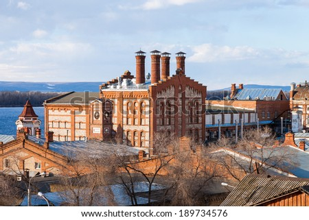 View on Zhiguli Brewery in Samara, Russia. Was founded in 1881 - stock photo