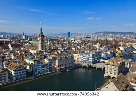 View on Zurich, Switzerland - stock photo