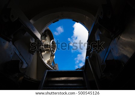 View out of a submarine hatch.