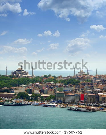 View over Aya Sofia and Blue Mosque from Galata tower, Istanbul - stock photo