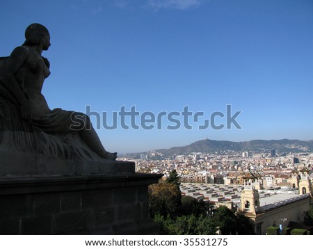 View over Barcelona - stock photo