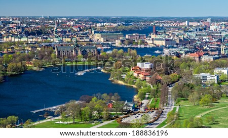 View over beautiful Stockholm city from a high view point