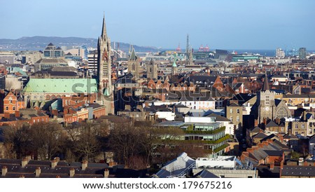 View over Dublin, Ireland - stock photo
