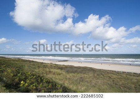 View over dunes, beach and sea of Domburg, Walcheren, Zeeland - stock photo