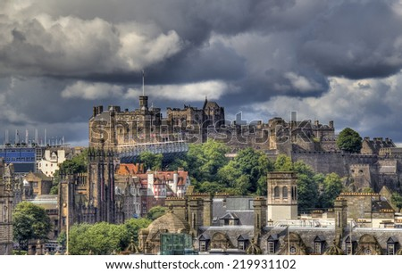 View over Edinburgh and the castle in the background in Scotland, UK - stock photo