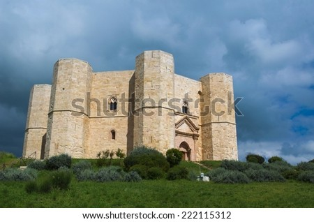 View over famous octagonal castel del monte near Andria, Italy. - stock photo