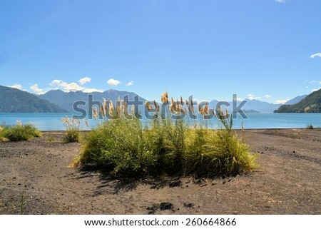 View over Lago Todos Los Santos towards Andes mountains and the border to Argentina, Patagonia, Chile. - stock photo