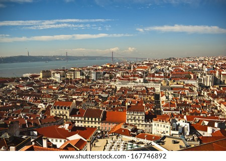 View over Lisbon from Castle de Sao Jorge - stock photo