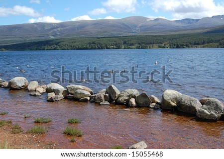 view over loch morlich in the highlands of scotland - stock photo