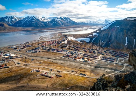 View over Longyearbyen from above, Svalbard, Norway - stock photo