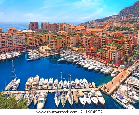 View over Monaco harbour from the viewpoint, Cote d'Azur, France - stock photo