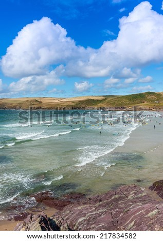 View over Padstow Bay and beach at Polzeath, near Wadebridge, Cornwall, England,