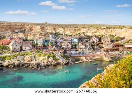 View over Popeye village, Malta - stock photo