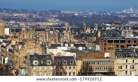 View over Princes street and gardens from Edinburgh Castle - stock photo