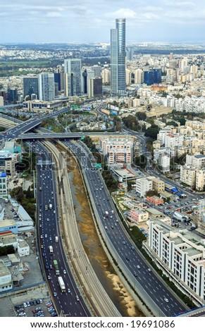 View over Ramat Gan, Tel Aviv, Israel - stock photo