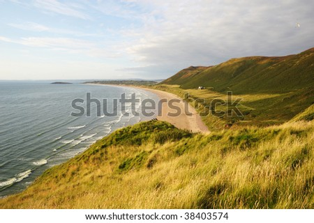 View over Rhossili Bay - stock photo