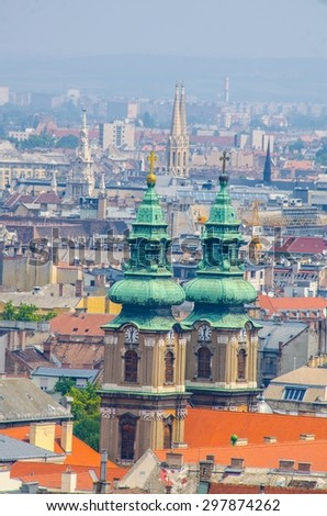 View over rooftop of budapest taken from gellert hegy hill. - stock photo