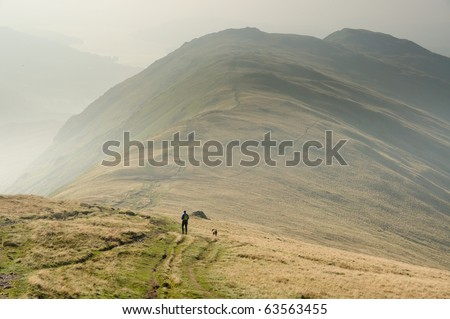 View over Rydal Fell and Heron Pike towards Windermere in the English Lake District - stock photo